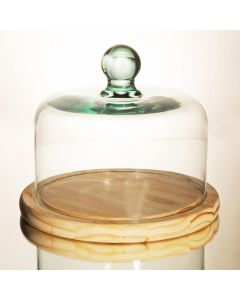 Grehom Recycled Glass Clear Dome & Wooden Base