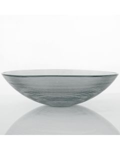 Grehom Recycled Glass Bowl - Ribbed (Grey); 30 cm Coloured Bowl