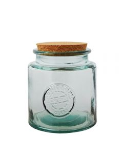 Grehom Recycled Glass Storage Jar- Authentic (1.5 l); Natural Cork Lid