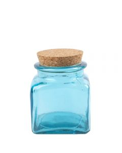 Grehom Recycled Glass Jar- Blue; Cork Lid