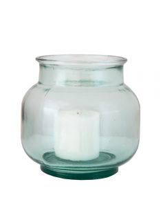 Grehom Recycled Glass Clear Hurricane Lamp; 19 cm Candle Holder