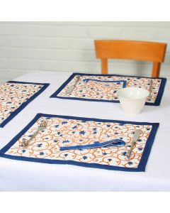 Grehom Placemats (Set of 2) - Blue Bell Flower; Cotton Tablemats