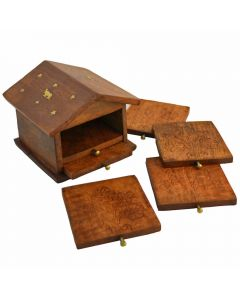Grehom Coasters Wooden Set of 6 - Hut