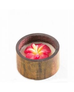 Grehom Decorative Candle - Red Frangipani in Bamboo Casing