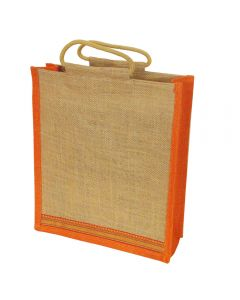 Grehom Hessian Bag Large - Orange Zari