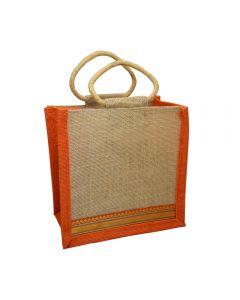 Grehom Hessian Gift Bag Small (Small) - Orange Zari (Set of 2)
