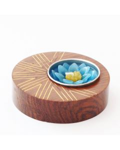 Grehom Tea Light Holder - Sun Rays in Brass Inlay