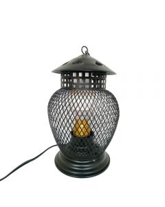Grehom Table Lamp - Oval Cage(Black); 18cm Metal Lighting