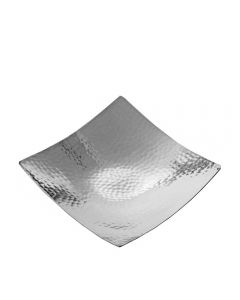Grehom Candle Plate - Hammered Silver Large