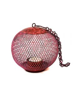 Grehom Tea Light Holder - Cage (Patina Red); Indoor Metal Lantern