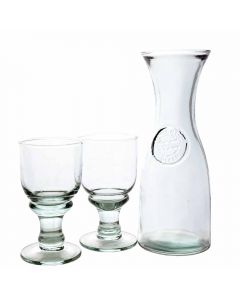 Grehom Recycled Glass Carafe & Glasses Set- Copa ; Handmade Recycled Glassware - PRICE ON REQUEST