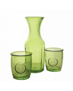 Grehom Recycled Glass Carafe & Tumblers Set- Green ; Handmade Recycled Glassware - PRICE ON REQUEST