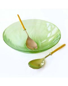 Grehom Salad Bowl & Server Set- Green; Recycled Glass Bowl with Serving Fork & Spoon - PRICE ON REQUEST