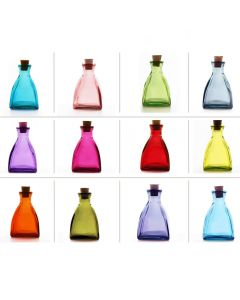 Grehom Recycled Glass Colour Bottles - Square Dome; Set of 12 - PRICE ON REQUEST