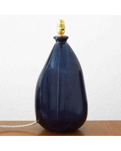 Grehom Table Lamp Base- Ceylon (Dark Blue); 42 cm Recycled Glass Lamp Base - PRICE ON REQUEST