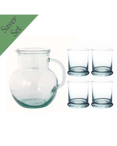 Grehom Recycled Glass Tumblers & Jug Set - Versatile; 5 Piece Saver Set - PRICE ON REQUEST